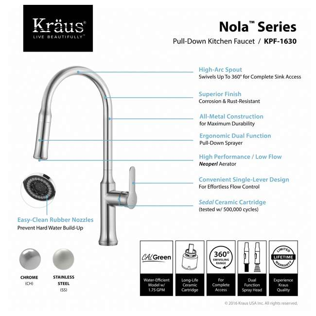 4 x KPF-1630SS Kraus Nola Single Lever Pull-Down Kitchen Faucet, Stainless Steel (4 Pack) 3