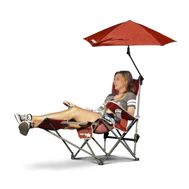 BRE03-620-01 Sport-Brella Umbrella Recliner Folding Chair, Red 1