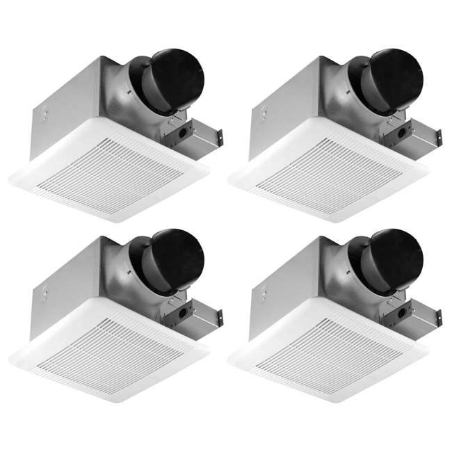 4 x GBR100 Delta Breez 100 CFM Single Speed Bathroom Ceiling Fan with LED Light (4 Pack)