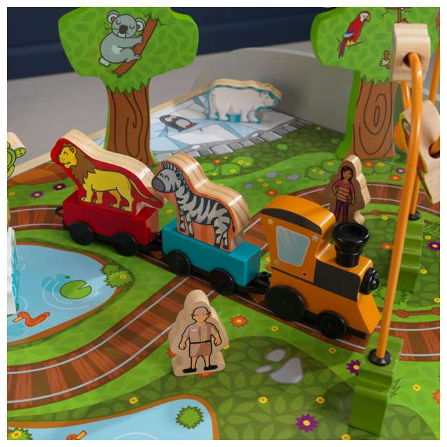 17508 KidKraft Kids Toddler Wooden Zoo Train Play Table Activity Station with Storage 9