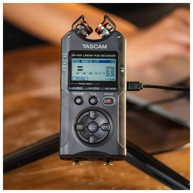 DR-40X + SD4-16GB-SAN + TH02-B Tascam 4-Track Digital Audio Recorder + Memory Card + Home & Studio Headphones 6