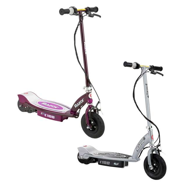 13181112 + 13111250 Razor E100 Kids 24V Electric Powered Ride On Scooter, Silver & Purple (2 Pack)