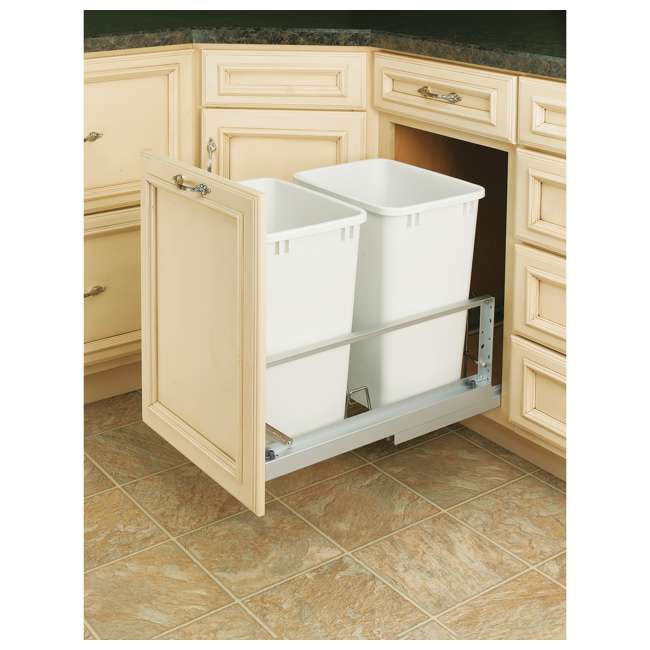 5349-18DM-2 Rev-A-Shelf 5349-18DM-2 Double 35 Quart Base Cabinet Pull Out Waste Containers 1