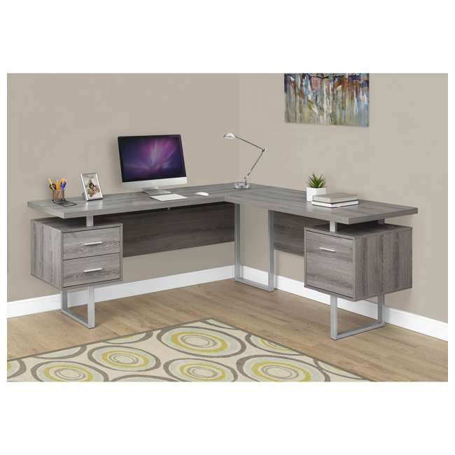 VM-7304 Monarch Specialties 70 Inch Contemporary Furniture Computer Desk, Dark Taupe  1