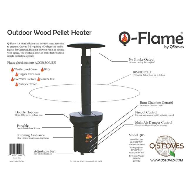 Q05 Q Stoves Q Flame Outdoor Heater Portable for Patio Camping Wood Pellets, Black 1