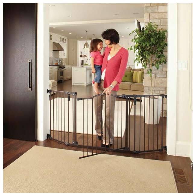 4934 + 2 x 4938 North States Deluxe Decor Baby and Pet Metal Gate + 2 15-Inch Extensions 4
