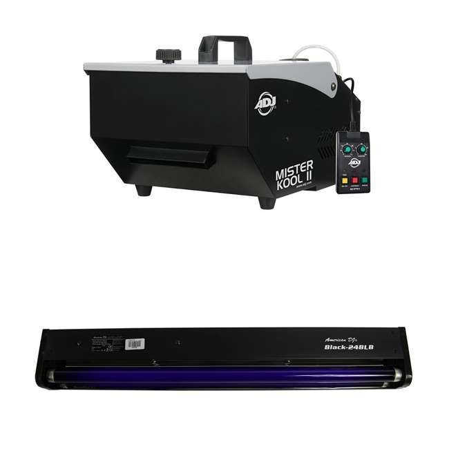 MISTER-KOOL-II + 2 x BLACK-24BLB ADJ Mister Kool II Fog Machine American & DJ 24 Inch Black Light Tube (2 Pack)
