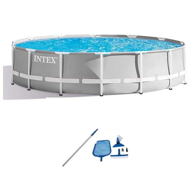 26719EH + 28002E Intex Swimming Pool Set w/ Vacuum Skimmer & Pole