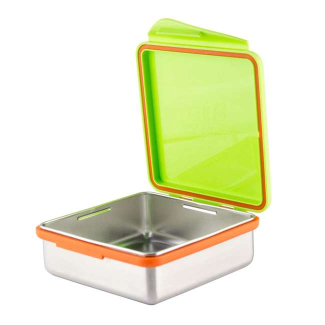 894148002817 Kid Basix Safe Snacker Kids 23 Ounce Stainless Steel Lunch Box, Lime (2 Pack) 1
