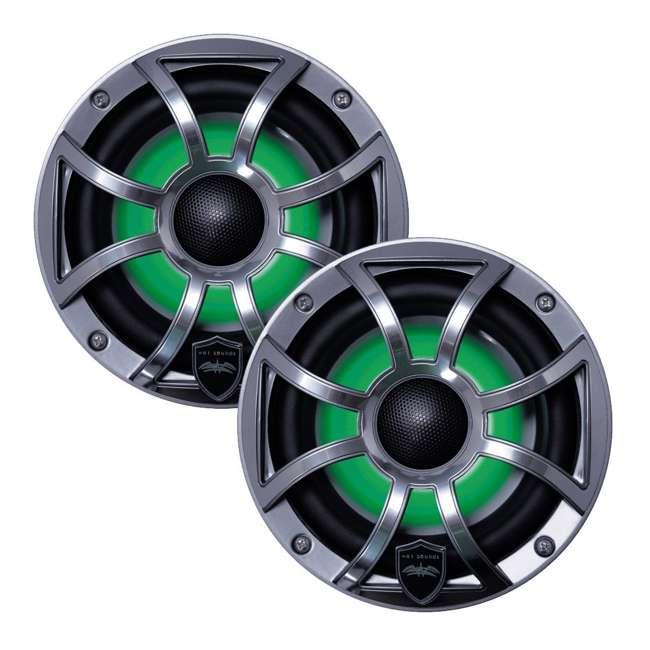 "REVO-6-XSG-SS-U-C Wet Sounds 6.5"" 200W Gunmetal LED Coaxial Full Range Marine Speakers (For Parts) 1"