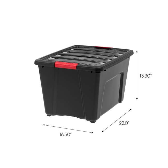 588339 IRIS 53 Qt Stack & Pull Storage Lidded Container Box Bin System, Black (6 Count) 6