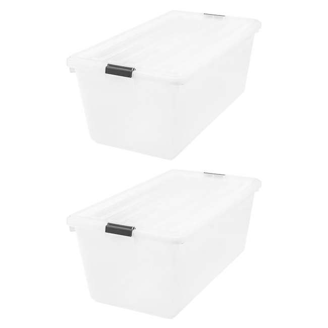 100201 IRIS Large 91 Qt Buckle Down Storage Caddy Bin Tote Container with Lid (2 Pack)