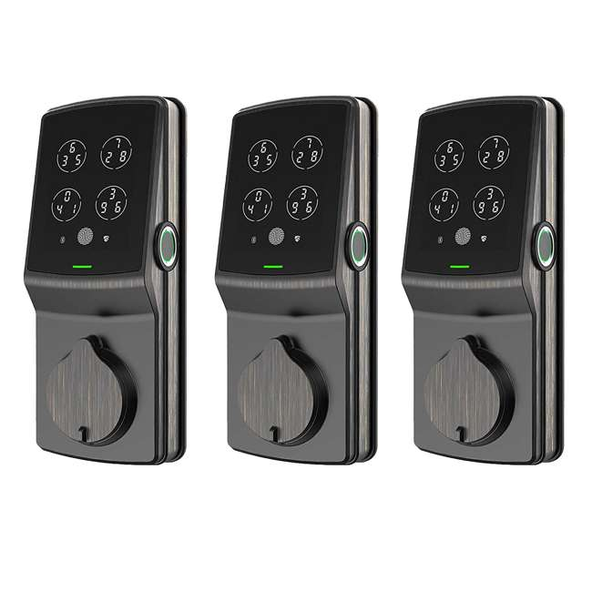 3 x PGD728VB Lockly Secure Keyless Digital Keypad Smart Deadbolt Door Lock, Bronze (3 Pack)