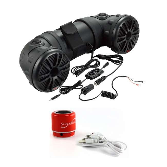 ATV25B + SC-1360BTRD Boss ATV25B Dual 450W 6.5-Inch ATV/Marine Amplifed Waterproof Speakers + Bluetooth