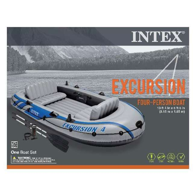 68324EP Intex Excursion 4 Inflatable Raft/Fishing Boat Set With 2 Oars(Open Box)(2 Pack) 3