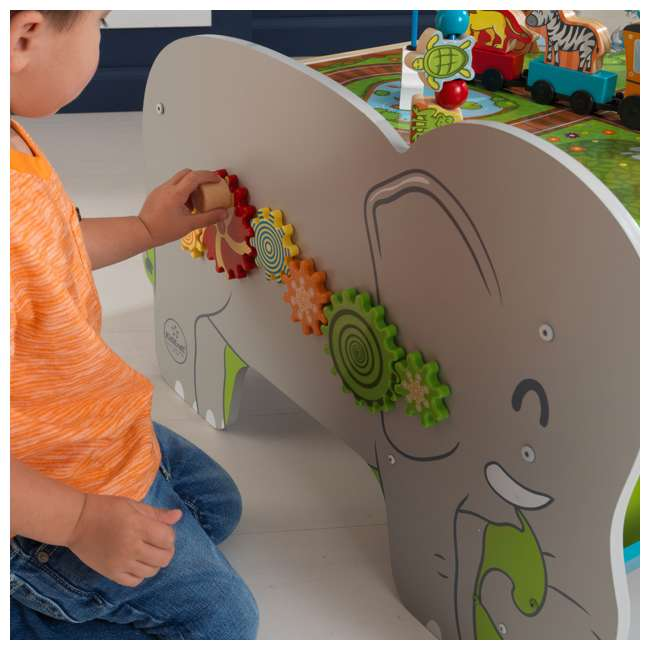 17508 KidKraft Kids Toddler Wooden Zoo Train Play Table Activity Station with Storage 3