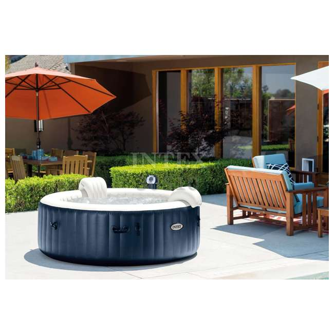 28409E + 28500E + 28501E Intex PureSpa 6 Person Outdoor Hot Tub with Headrest, Cup Holder and Drink Tray 6