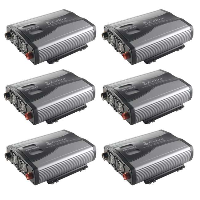 6 x CPI1575 Cobra 1500W 12-Volt DC to 120-Volt AC Car Power Inverter, 3 Outlets and USB (6 Pack)