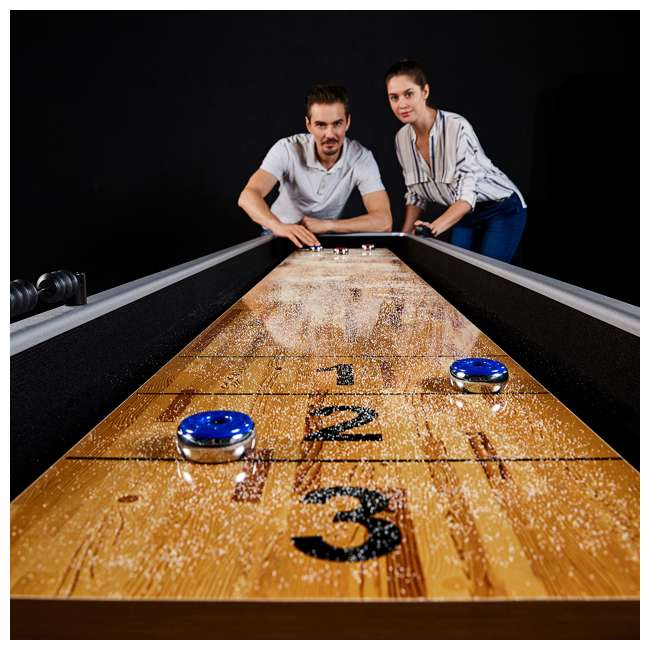 ARC108_127P-U-D Lancaster 9 Foot Standard Shuffleboard Game Table with Pucks and Wax (Damaged) 2