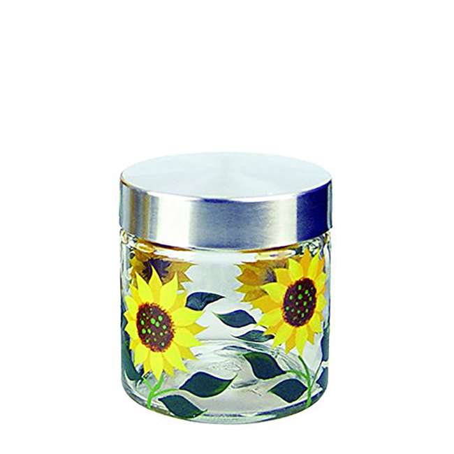 GH-39514 Grant Howard 28 Ounce Small Hand Painted Sunflower Round Kitchen Storage Jar