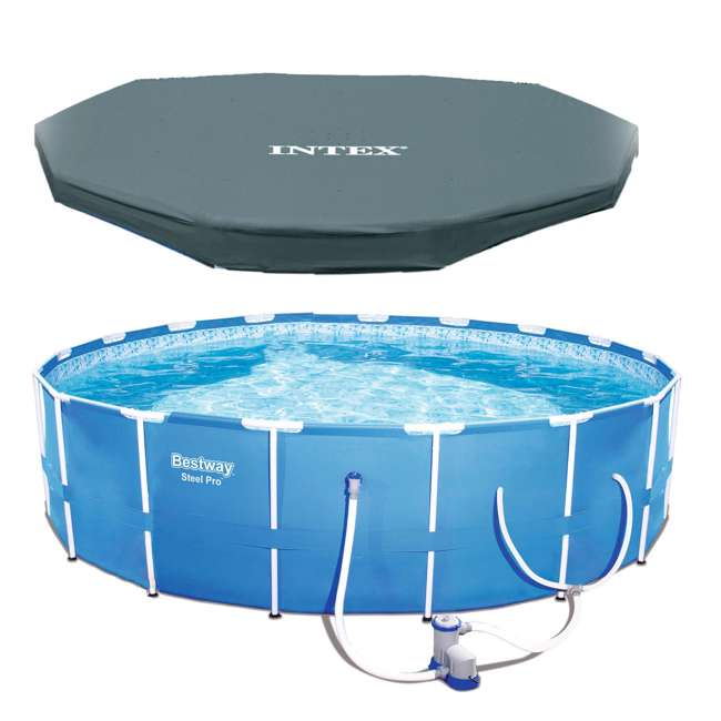 56417E-BW + 28031E Bestway Steel Pro 12-Foot x 30-Inch Frame Pool with Filter & Cover