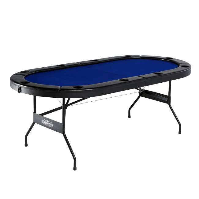 ARC084_127B Barrington Texas Holdem Poker Table for 10 Players with Padded Rails and Cup Holders