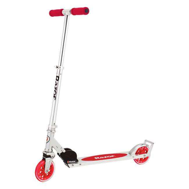 13014360 Razor A3 Kids Folding Aluminum Portable Scooter with Wheelie Bar, Red (2 Pack) 1