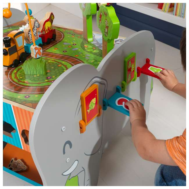 17508 KidKraft Kids Toddler Wooden Zoo Train Play Table Activity Station with Storage 6