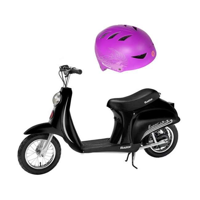 15130601 Razor Pocket Mod Miniature Euro Electric Retro Scooter & 2 Cool Kids Helmet