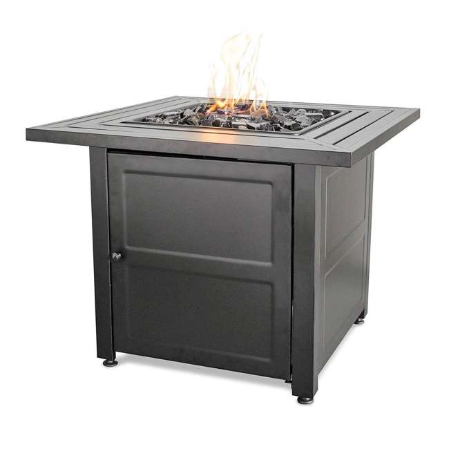 """GAD1423M Endless Summer 30"""" Propane Gas Outdoor Fire Pit Table w/ Lava Rock, Black 2 Pack 1"""