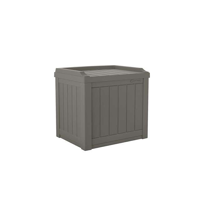 4 x SS601ST Suncast 22 Gallon Small Resin Patio Storage Deck Box and Seat, Stoney (4 Pack) 1