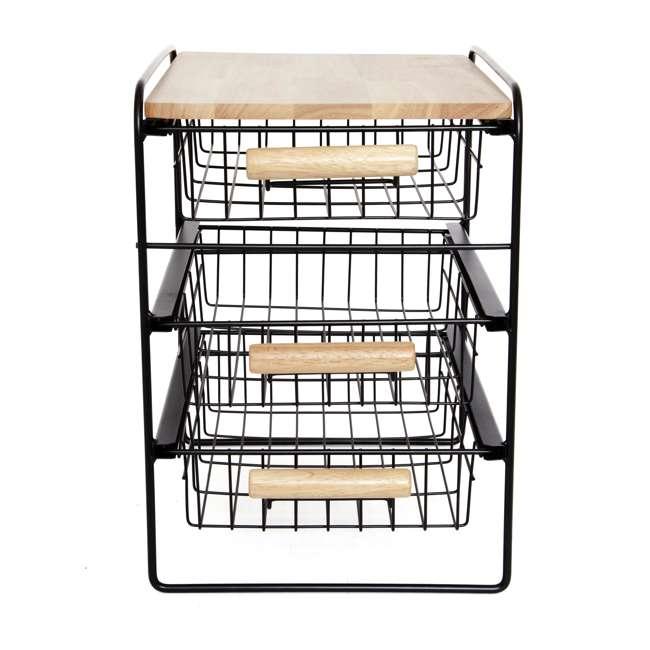 RA3TS-WB-BL Origami Kitchen Countertop 3-Drawer Wood Top Organizer, Black