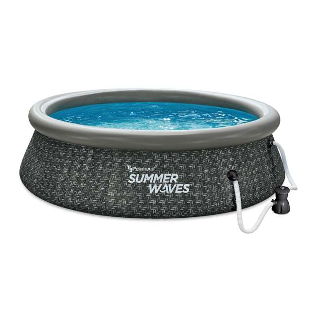 P1A01030A167 Summer Waves 10 x 2.5 Foot Quick Set Ring Above Ground Pool w/ Pump, Dark Wicker