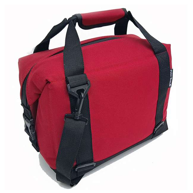 PB 123 Polar Bear Coolers 12 Pack Light Nylon Soft Cooler with Strap, Red 2