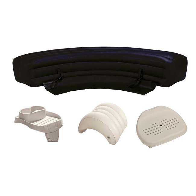 28508E + 28501E + 28502E + 28500E Intex PureSpa Accessories Package - Headrest, Bench, Seat, and Cupholder