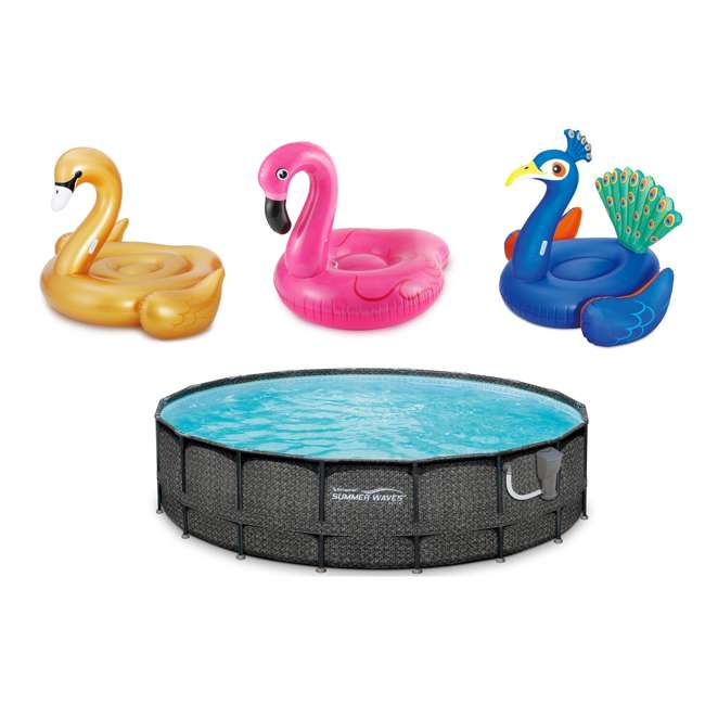 "P4A02048B167+K50525000167+K50617000167+K5063500016 Summer Waves 20' x 48"" Pool Set, Inflatable Pink Flamingo, Peacock, and Swan"