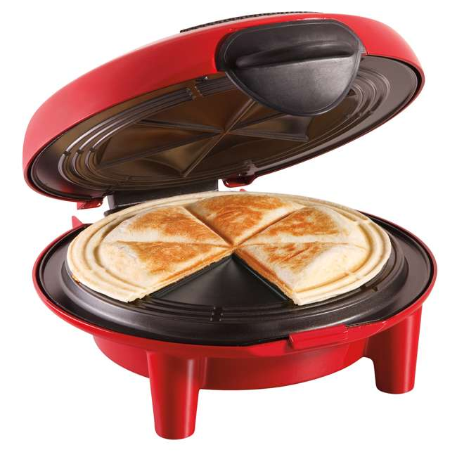 25409 + TOASTER150 Hamilton Beach Quesadilla Maker, Red & Best Toaster Oven 150 Recipes CookBook