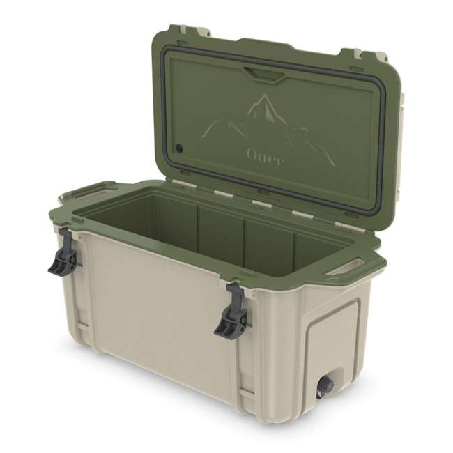 77-54869 OtterBox Venture Heavy Duty Outdoor Camping Fishing Cooler 65-Quarts, Tan/Green