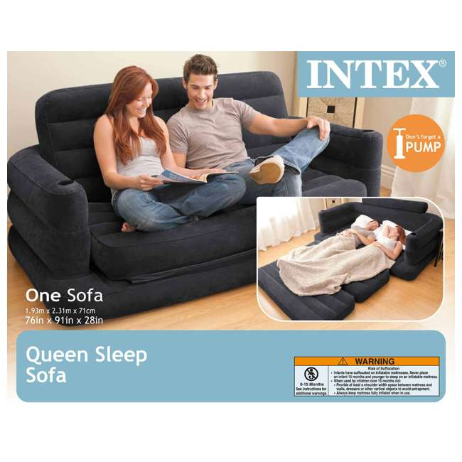68566EP-U-B INTEX Inflatable Pull-Out Sofa & Queen Bed Mattress Sleeper (Used) (2 Pack) 7