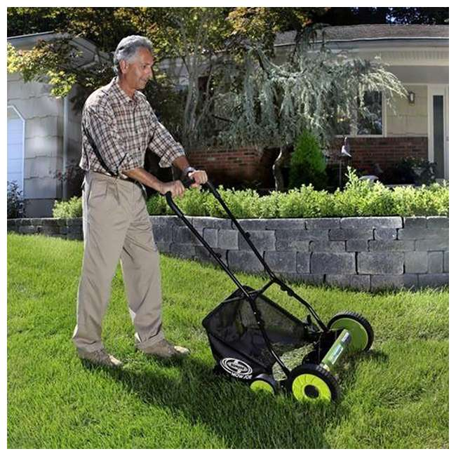 "SUJ-MJ501M-U-B Sun Joe Manual Reel 18"" Push Behind Lawn Mower w/ Grass Catcher, Green (Used) 5"