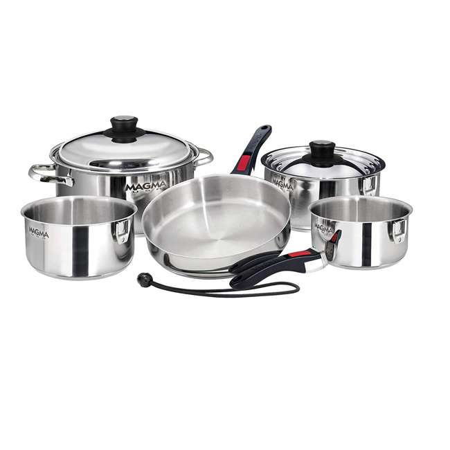 A10-360L Magma Products 10 Piece Nesting Milled Flat Stainless Steel Kitchen Cookware