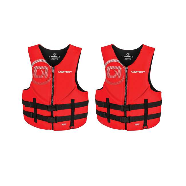 2181838-MW OBrien BioLite Series Traditional Mens Boating Life Vest Size XXL, Red (2 Pack)