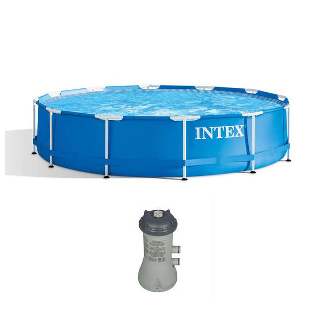 28210EH + 28637EG Intex 12 Foot x 30 Inch Above Ground Swimming Pool w/ Cartridge Filter Pump