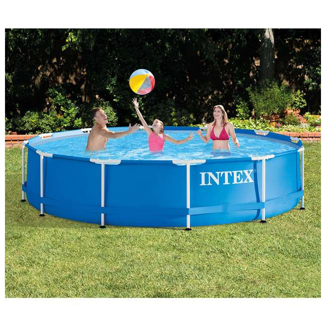 28210EH + 28637EG Intex 12 Foot x 30 Inch Above Ground Swimming Pool w/ Cartridge Filter Pump 2