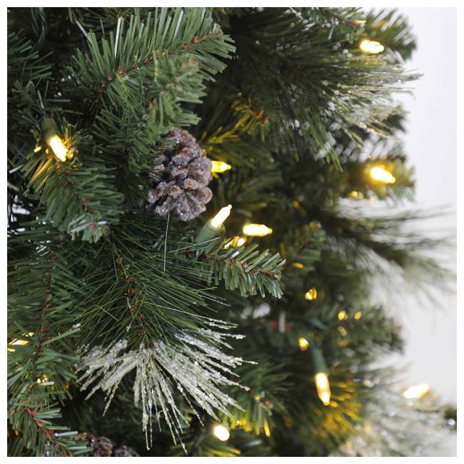 TG66M3ABAD00-U-A Home Heritage Lincoln 6.5' 400 Bulb Christmas Tree, Pine Cones/Glitter(Open Box) 2