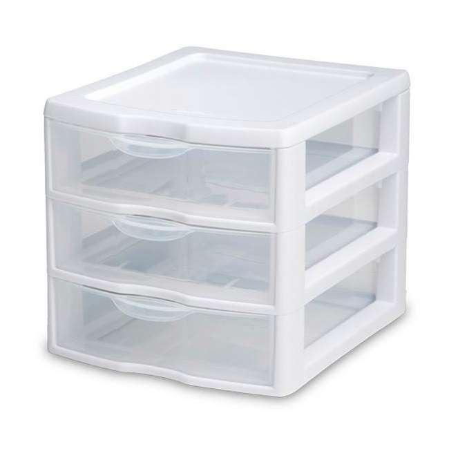 12 x 20738006-U-A Sterilite Small Compact Countertop 3 Drawer Desktop Storage (Open Box) (12 Pack)