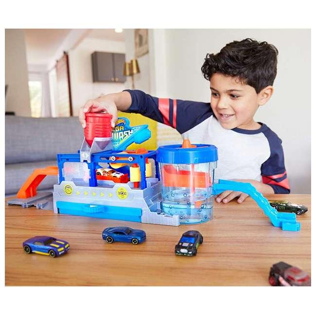 FTB66-U-B Mattel Hot Wheels Mega Car Wash Play Set w/ 1 Color Changing Car 4