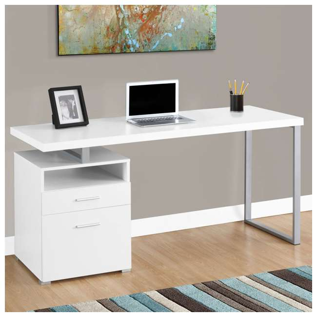 "MS-VM7144-U-B Monarch Specialties 60"" Contemporary Computer Desk with Drawer, White (Used) 1"