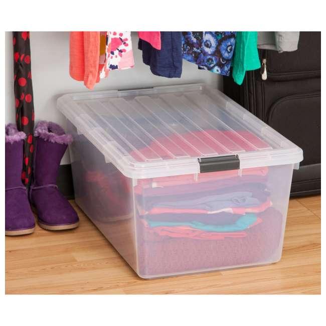 5 x 585380 IRIS USA 585380 68 Qt. Buckle Down Modular Storage Box Container, Clear (5 Pack) 2