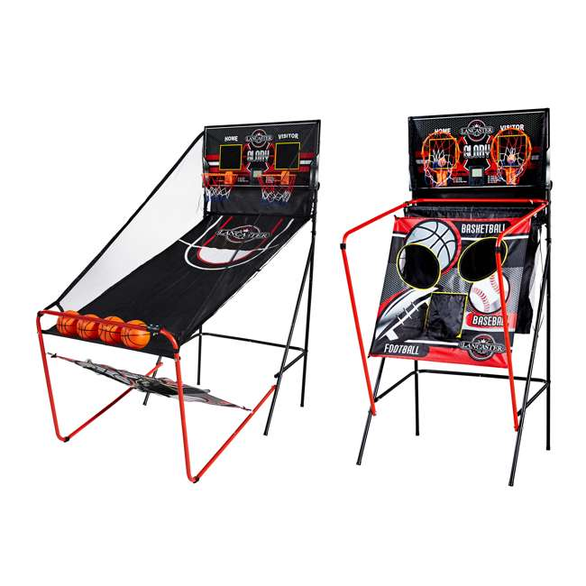 BBG019_018P-U-A Lancaster 2 Player Scoreboard Arcade 3 in 1 Basketball Sports Game (Open Box)